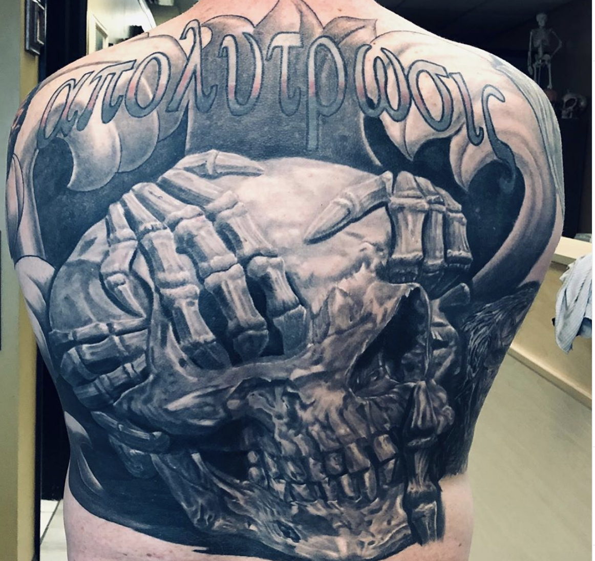 Black and White Skull Back Piece
